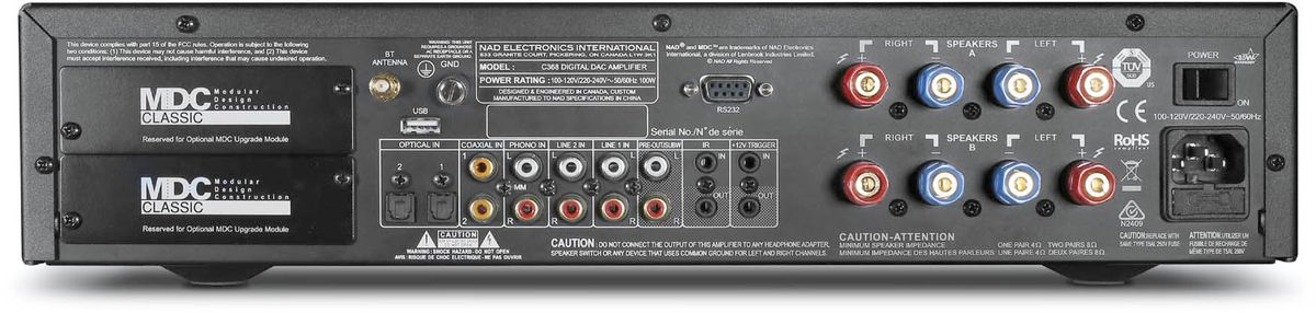 NAD C 368 amplificateur face arrière